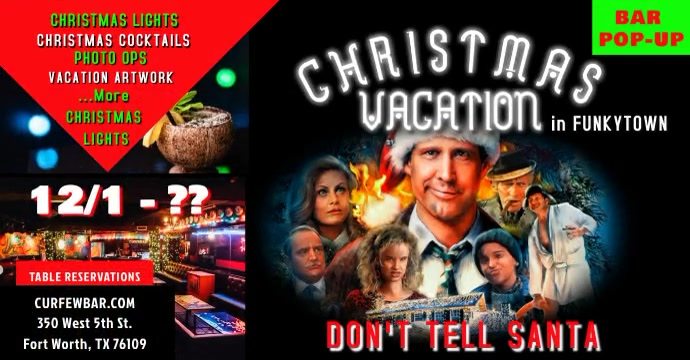 Bar Popup Christmas Vacation Poster Facebook Ad template