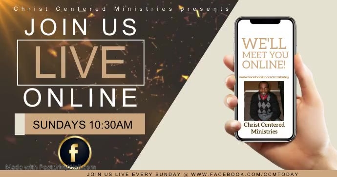 CCM CHURCH LIVE ONLINE FROM AT HOME template Facebook Shared Image