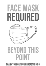 Face Mask Required Door Sign Printable B&W A4 template