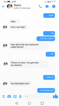 Face messenger chat template for jokes Instagram Story