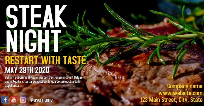 facebook advertisement for steak night Facebook-advertentie template