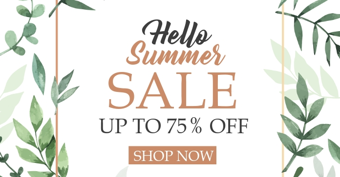 facebook advertisement hello summer sales up template
