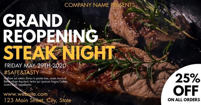 facebook advertisement steak night template
