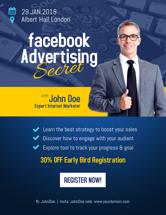 Facebook Advertising Flyer Poster Template Postermywall