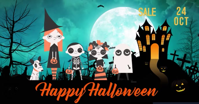 Facebook cover Halloween video Flyer animated template