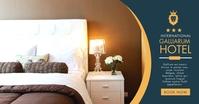 facebook hotel advetisement dark blue and gol template