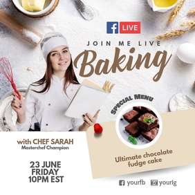 Facebook live Baking poster template