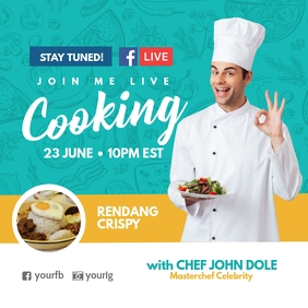 Facebook live cooking poster template
