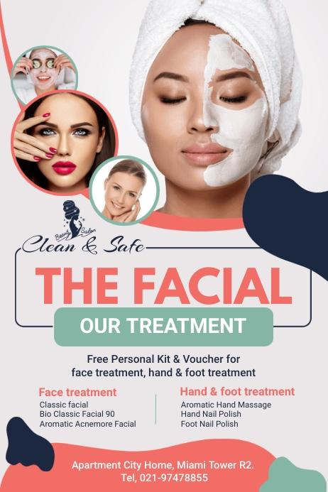Facial and Massage Flyer Plakat template