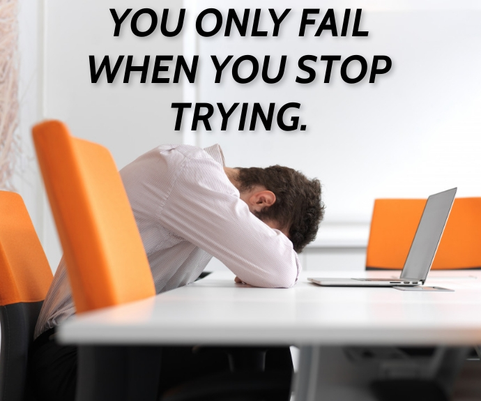 FAIL AND TRYING QUOTE TEMPLATE Middelgrote rechthoek