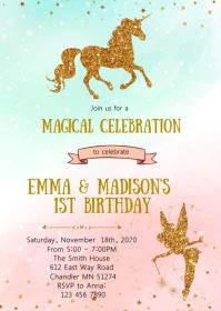 Fairy and unicorn birthday invitation