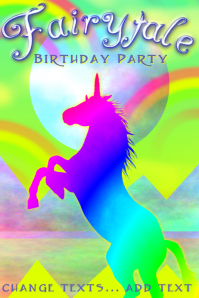 Fairytale birthday with unicorn horse moon and rainbows
