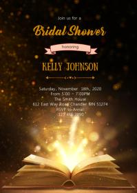 Fairytale book bridal shower invitation A6 template