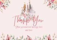 Fairytale Princess Unicorn Girls Birthday Postcard template