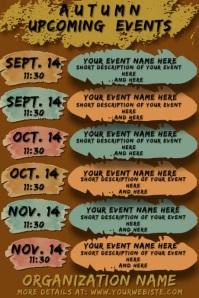 Fall Autumn Artsy Events Calendar Plakkaat template