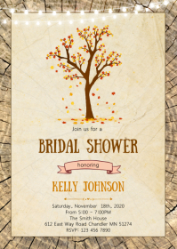Fall autumn bridal shower invitation