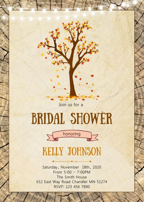 Fall autumn bridal shower invitation