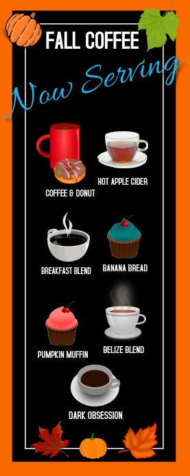 fall/autumn/coffee house/restuarant/shop/cafe Roll-up-Banner 2 x 5 Zoll template
