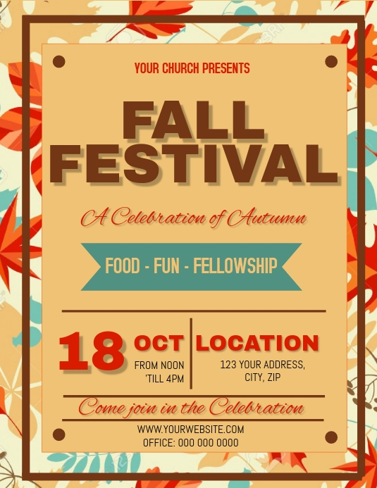 fall autumn festival church flyer template