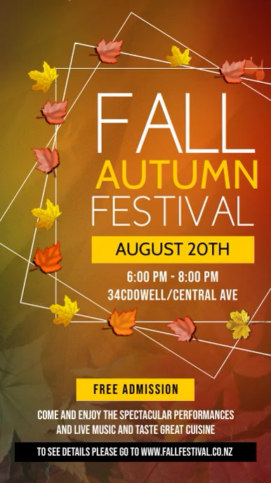 Fall Autumn Festival Digital Display Template Digitale Vertoning (9:16)