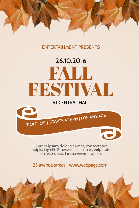 fall autumn festival event flyer template