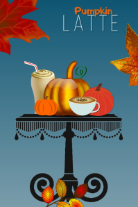 fall/autumn/latte/restaurant/cafe/coffee shop Cartaz template