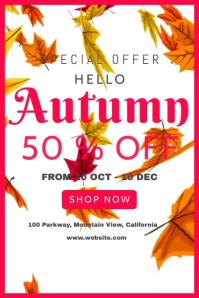 Fall Autumn Sale Poster template