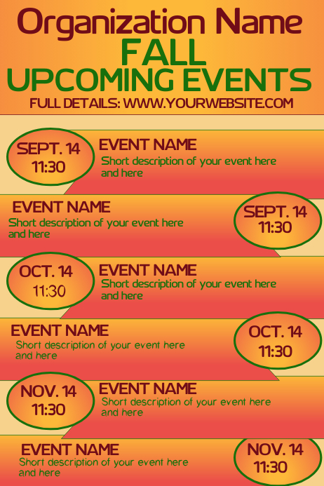 Fall Autumn Upcoming Events Calendar 1
