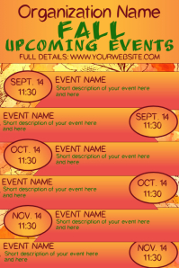 Fall Autumn Upcoming Events Calendar 2