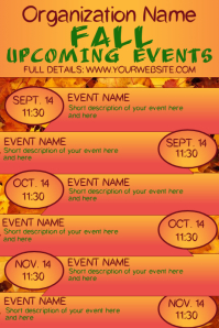 Fall Autumn Upcoming Events Calendar 4