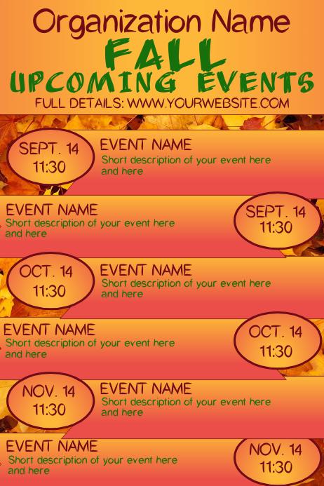 Fall Autumn Upcoming Events Calendar 4
