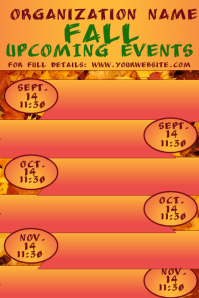 Fall Autumn Upcoming Events Calendar