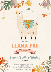 Fall bohemian llama party invitation A6 template