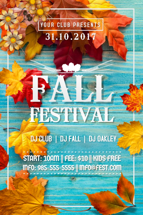 Fall Fest Blue Wood Leaves Foliage Autumn Harvest Winter Poster template