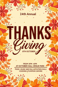 Fall festival, Autumn sale, Thanks giving Poster template