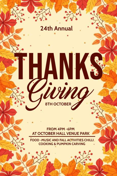 Fall festival, Autumn sale, Thanks giving Cartaz template