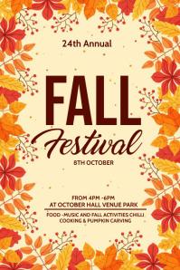 Fall festival, Autumn sale Poster template