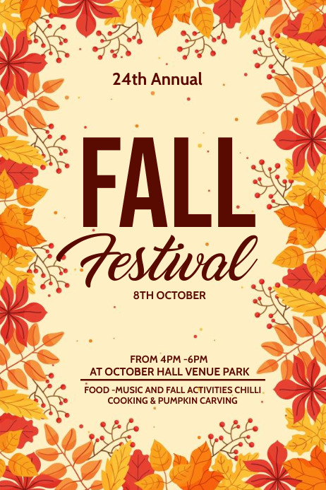 Fall festival, Autumn sale Cartaz template