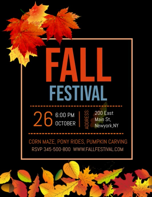 Fall festival, fall fest, autumn fest ใบปลิว (US Letter) template
