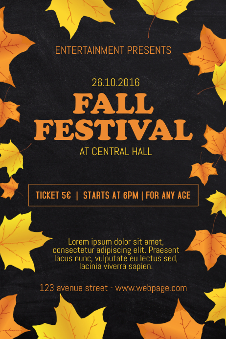 fall festival event flyer template postermywall