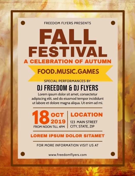 Fall Festival Flyer Folder (US Letter) template