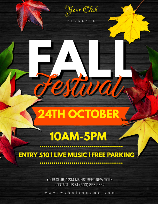 fall festival flyer template postermywall