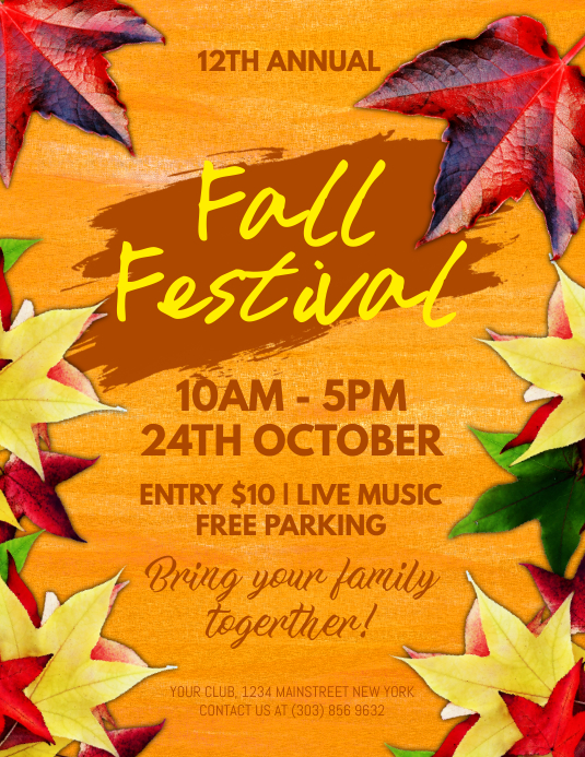 fall festival flyer template postermywall. Black Bedroom Furniture Sets. Home Design Ideas