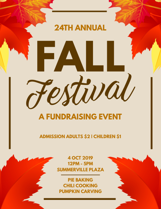 Fundraiser Flyer Template | Fall Festival Fundraising Flyer Template Postermywall