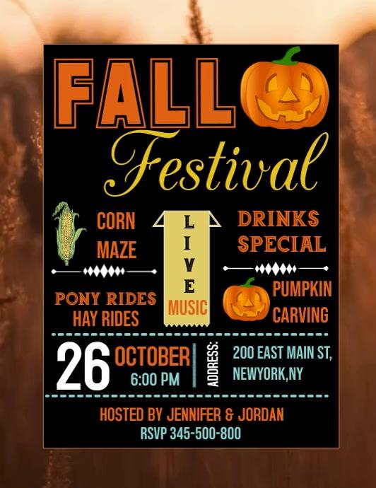 Fall festival video template, autumn festival Løbeseddel (US Letter)