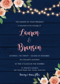 Fall flower navy theme invitation A6 template