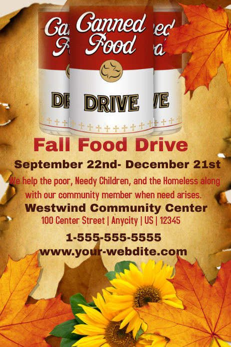 Fall Food Drive Template – Can Food Drive Flyer Template