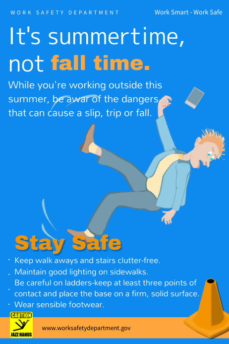 fall hazards work safety poster template postermywall