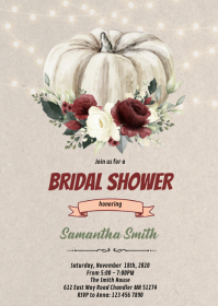 Fall in love wedding pumpkin invitation A6 template