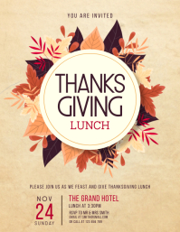 Fall leaves Thanksgiving lunch flyer Pamflet (Letter AS) template